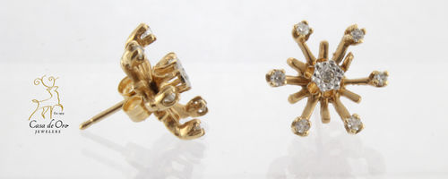 Diamond Earrings w/ Jackets 14K Yellow