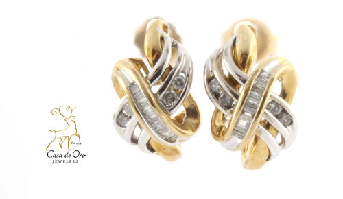 Diamond Earrings 10K Two Tone
