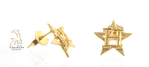 "Gold ""Houston Astros"" Earrings 14KY"