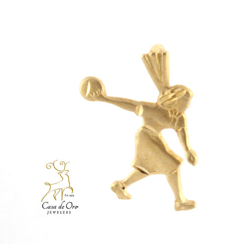 Gold Female Bowler Charm 14K
