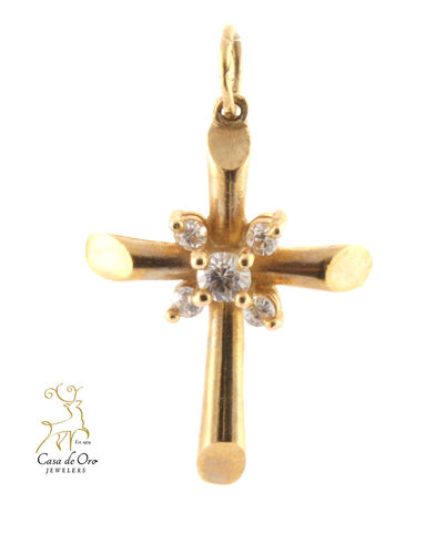 Cubic Zirconia Cross 14K Yellow
