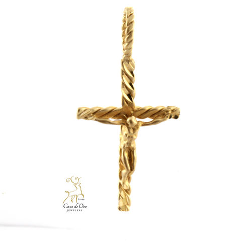 Gold Crucifix Pendant 14K Yellow