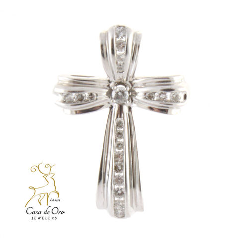 Cubic Zirconia Cross Pendant 10K White