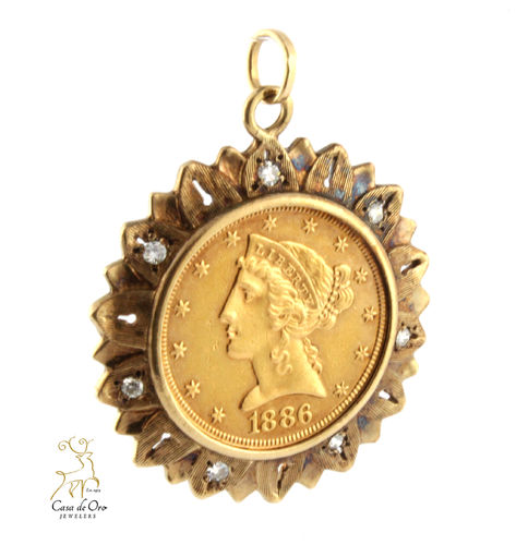 Gold US $5.00 Pendant (Price + Coin) 10KY