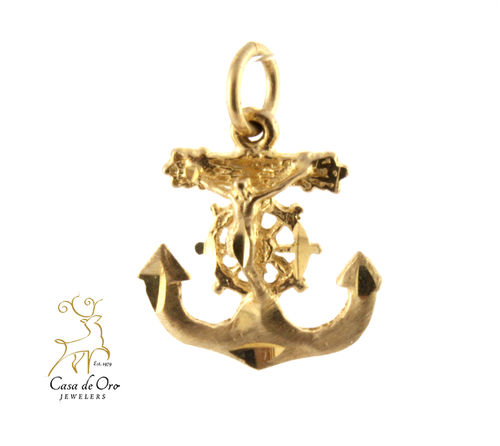 Gold Anchor & Crucifix Pendant 14K
