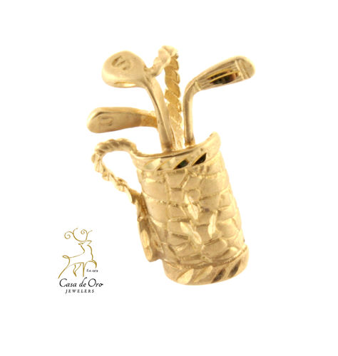 Golf Bag Pendant 14K Yellow