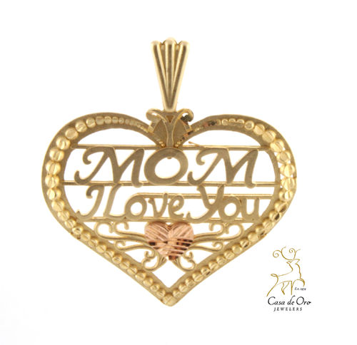 "Gold ""Mom, I love you"" Pendant 10KY"