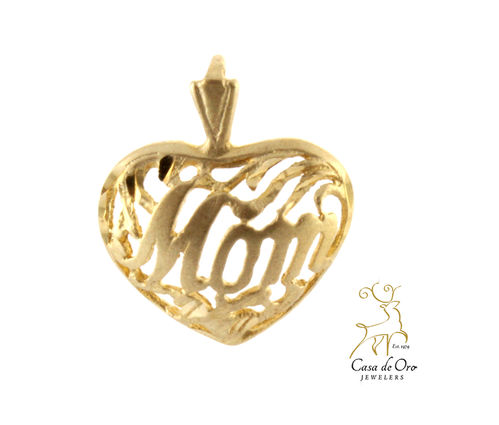"Gold ""Mom"" Heart Pendant 14K Yellow"
