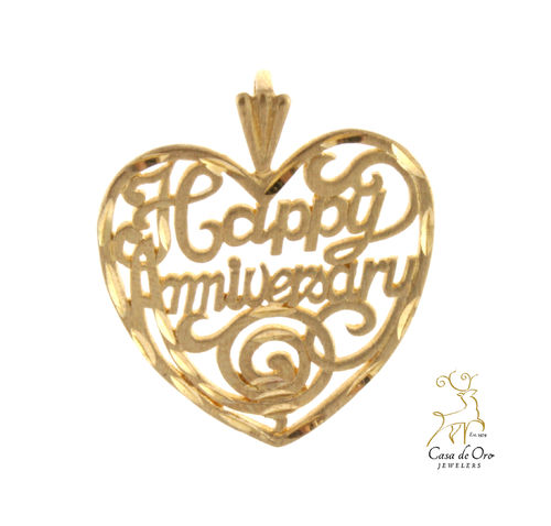 "Gold ""Happy Anniversary"" Pendant 14KY"
