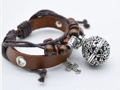 Brown Leather Diffuser Bracelet w/Locket