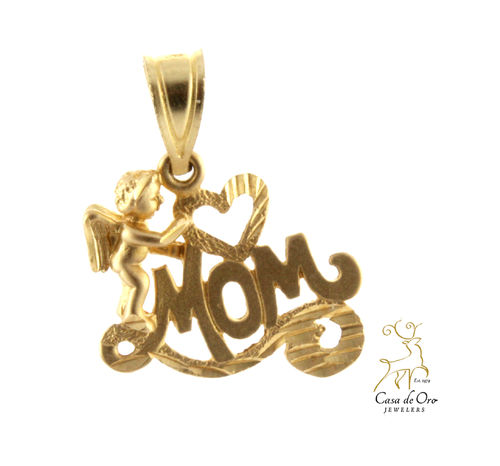 """Mom"" Pendant 14K Yellow"