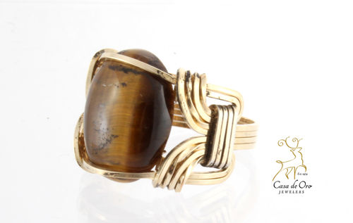 Tiger Eye Ring 10K Yellow