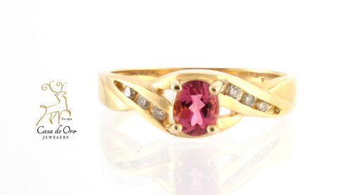 Simulated Pink Stone Ring 14K Yellow