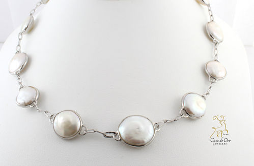 Coin Pearl Necklace Sterling