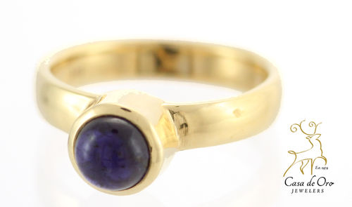 Iolite Cab Tube Ring 14KY