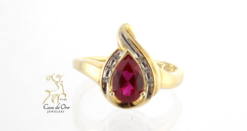 Simulated Ruby and Diamond Ring