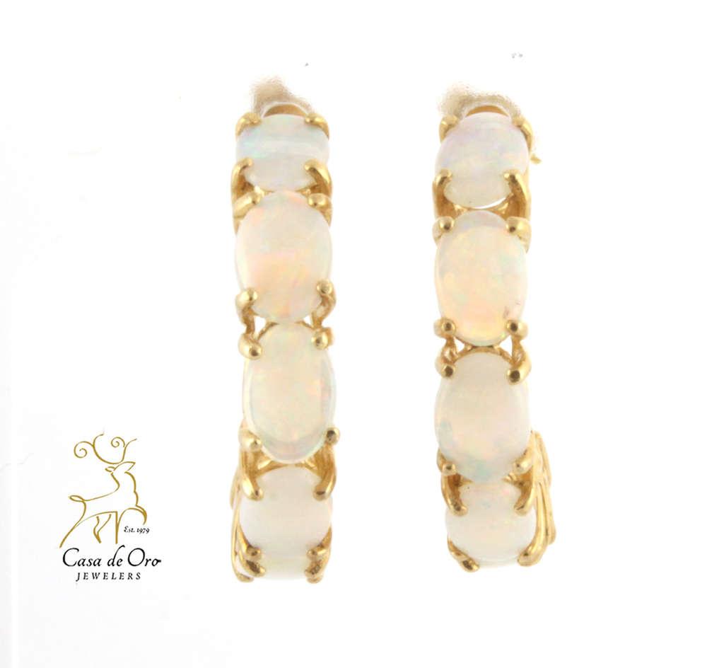 6d44b4aa9e805 Opal Hoop Earring 14K Yellow