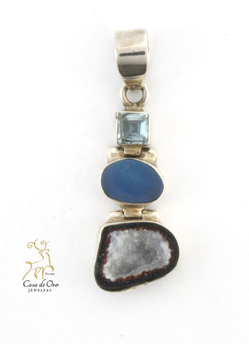 Sterling Silver Topaz and Agate Pendant