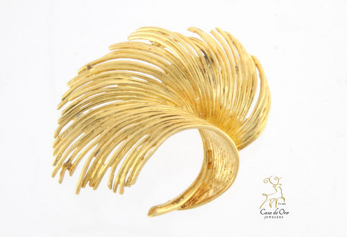 Gold Feather Brooch 14K Yellow