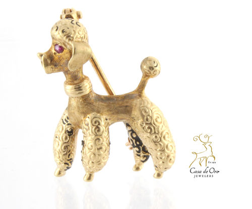 Poodle Brooch with Ruby Eye 14K