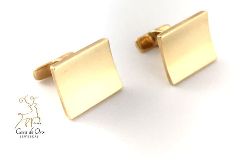 Gold Square Cuff Links 14K Yellow