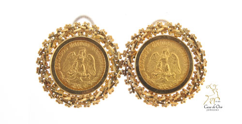 2 Peso Earrings 14KY (Price+Coin)