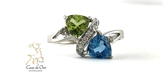Peridot & Blue Topaz Ring 10K White