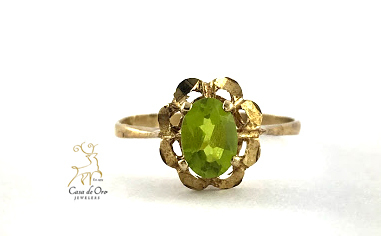 Simulated Peridot Ring 14K Yellow
