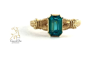 Simulated Blue Zircon Ring 10K Yellow