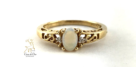 Simulated Opal 10K Yellow Ring