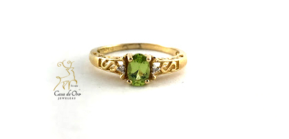 Simulated Peridot Ring 10K Yellow