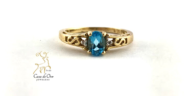 Simulated Blue Topaz Ring 10K Yellow