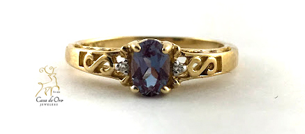 Simulated Alexandrite Ring 10K Yellow