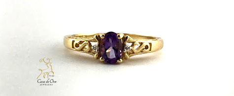 Simulated Amethyst Ring 10K Yellow