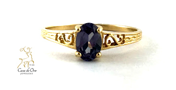 Simulated Alexandrite Ring 14K Yellow