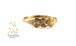 Diamond Heart Baby Ring 14K Yellow