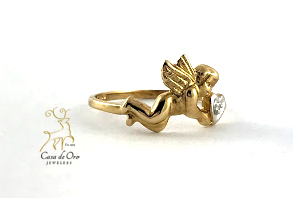 Diamond Angel Ring 10K Yellow