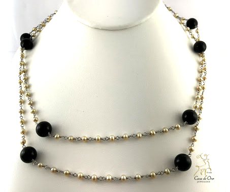 Sterling FW Pearl & Black Onyx Necklace